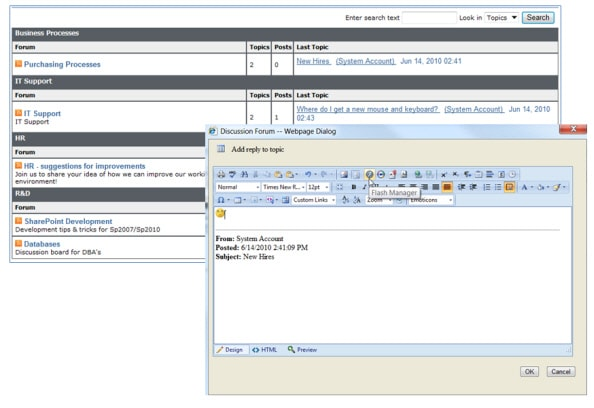 SharePoint Discussion Board Feature full screenshot