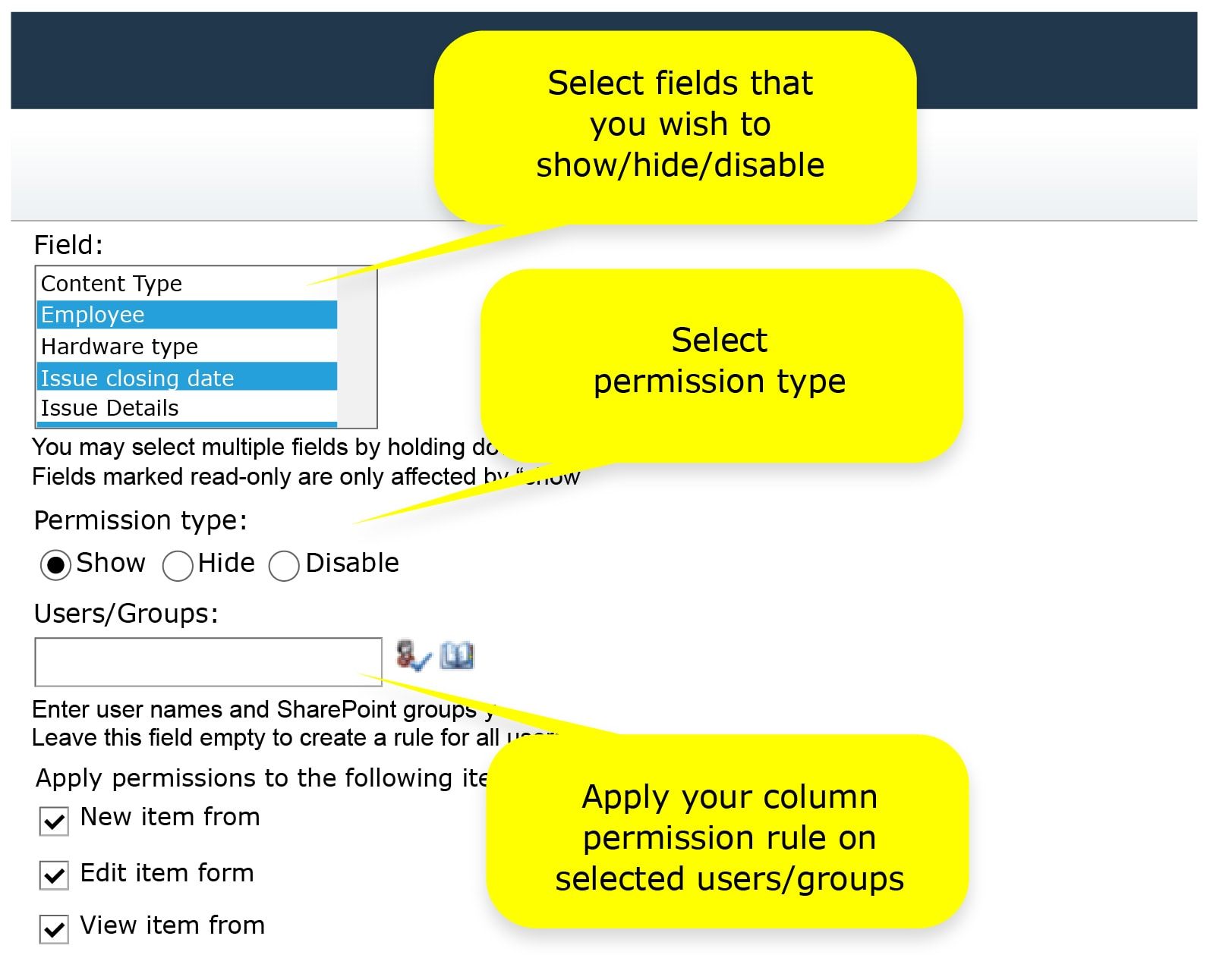 sharepoint field permissions