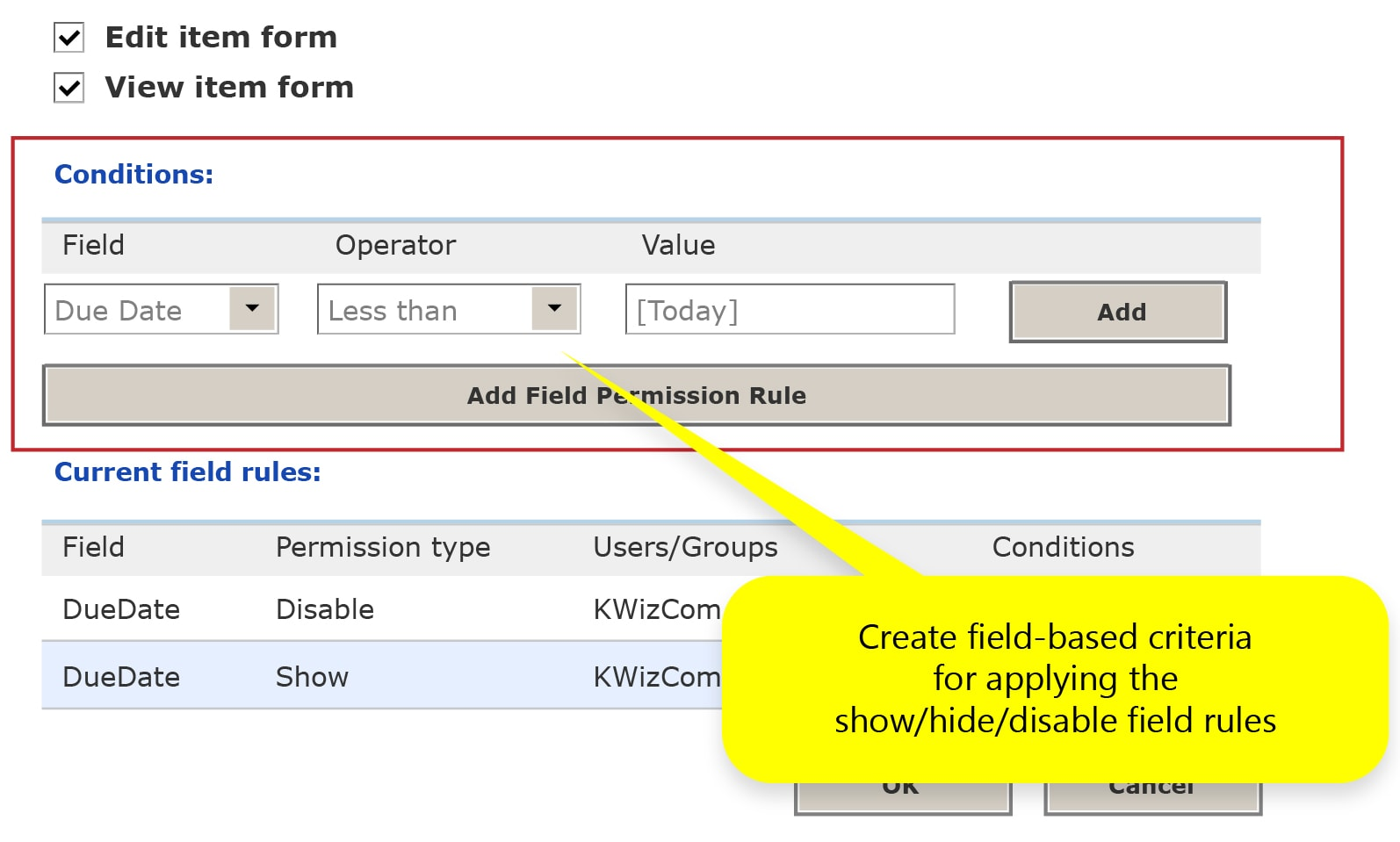 KWizCom's SharePoint field permissions