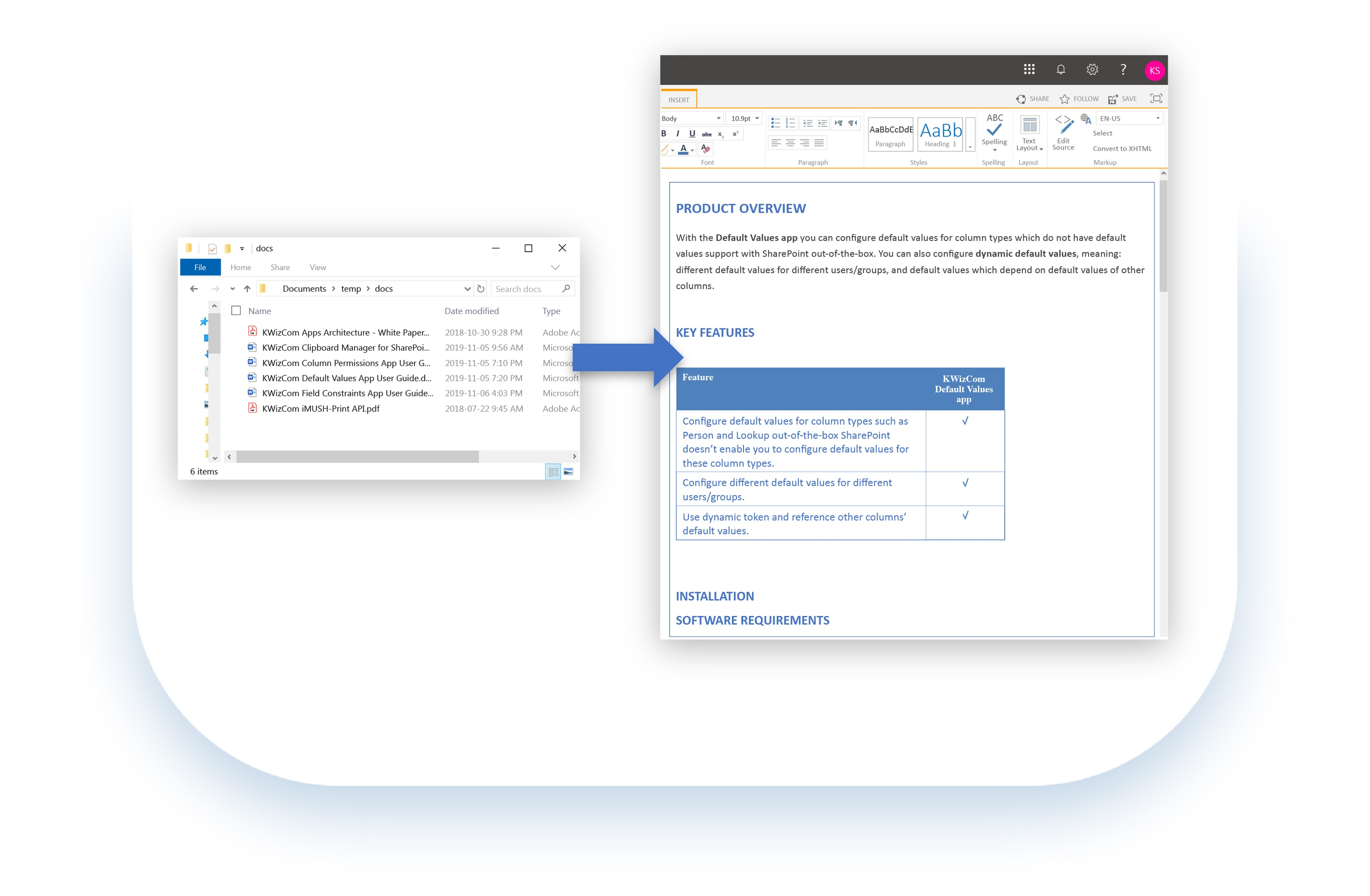 Copy multiple documents to SharePoint pages in one-shot