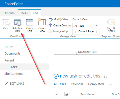 datasheet view for SharePoint