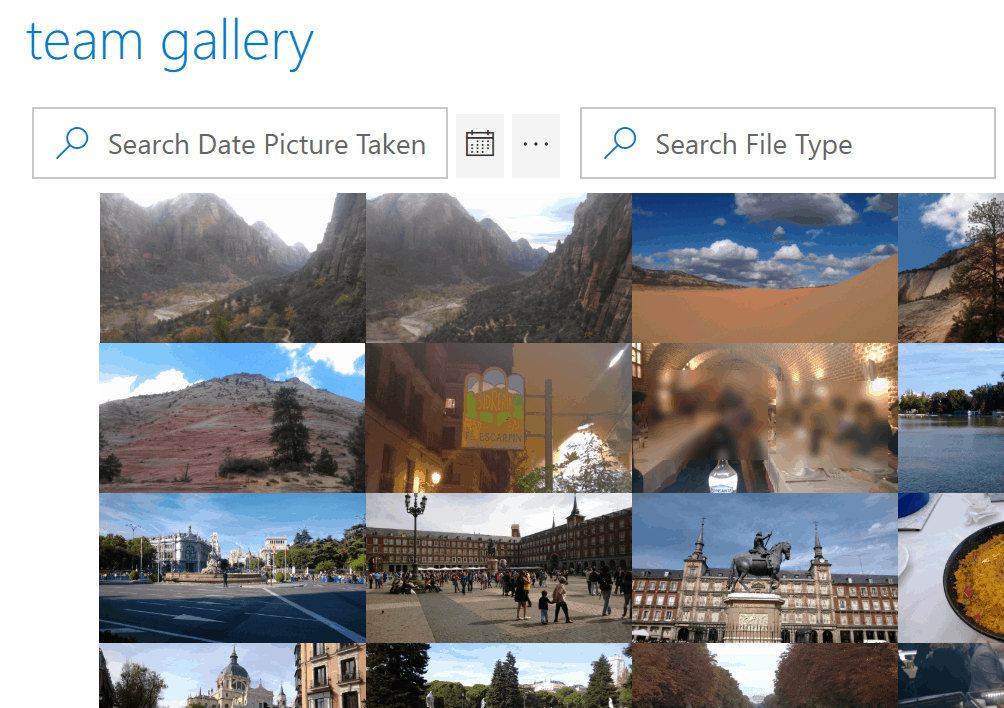 KWizCom picture Gallery filters