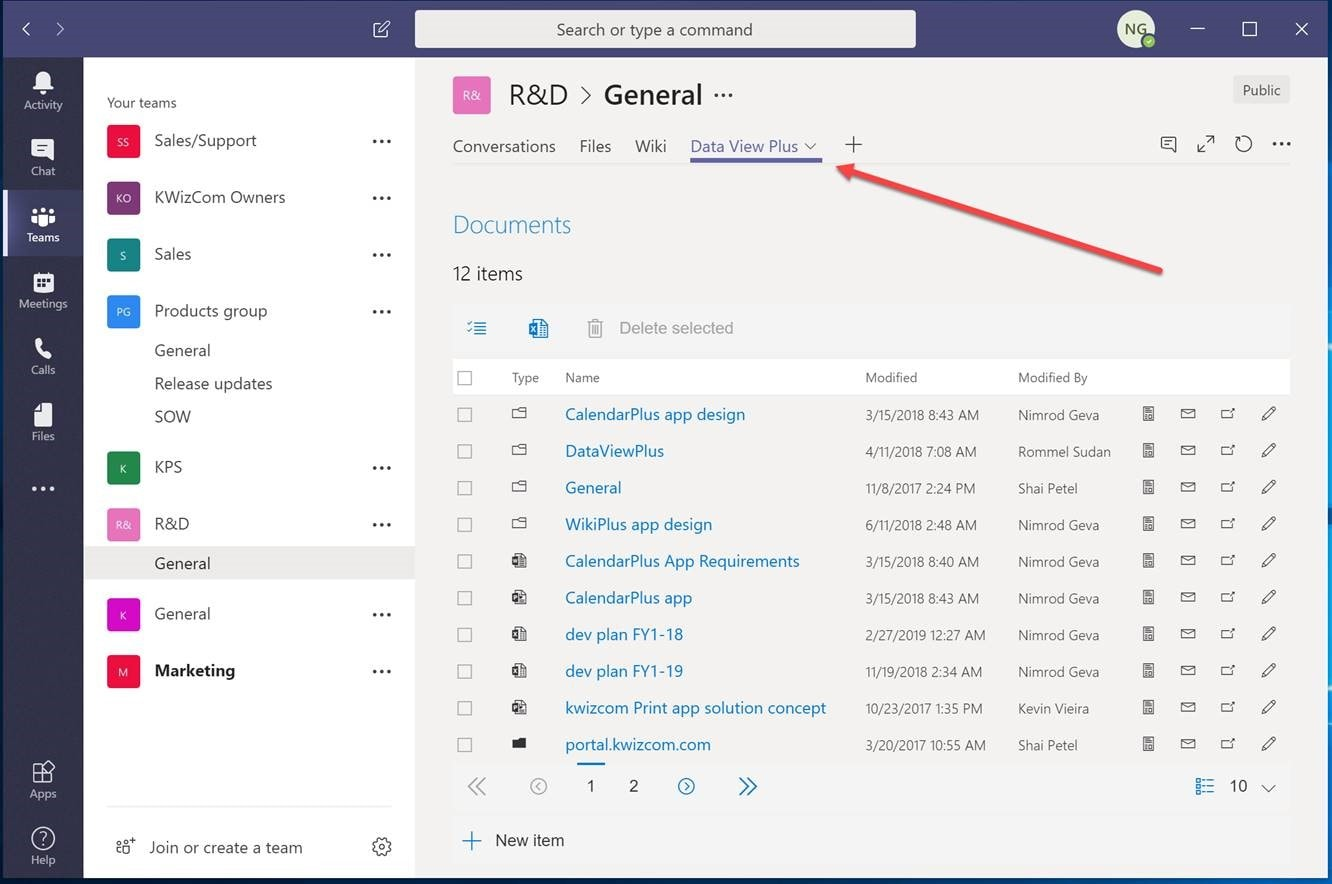 Add Data View Plus App to Microsoft Teams