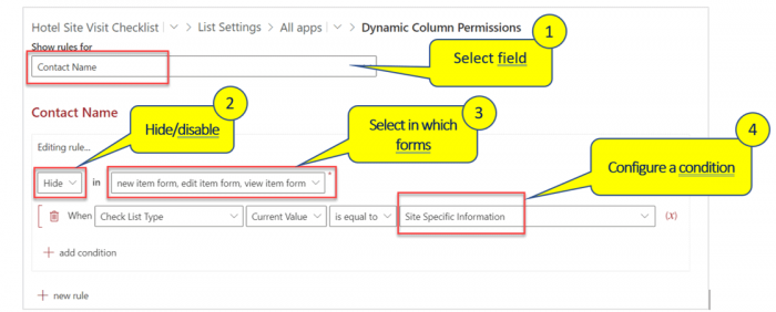 Dynamically Show or Hide Columns in List forms
