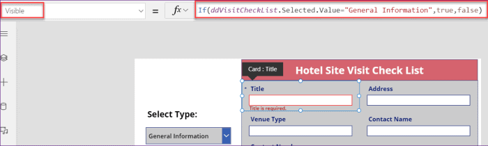 show or hide a few columns based on the Check List Type column in Power Apps