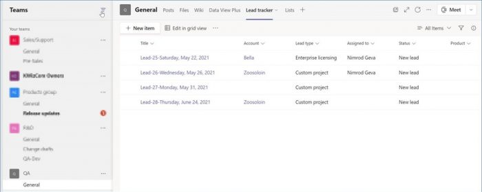 SharePoint list in MS Teams
